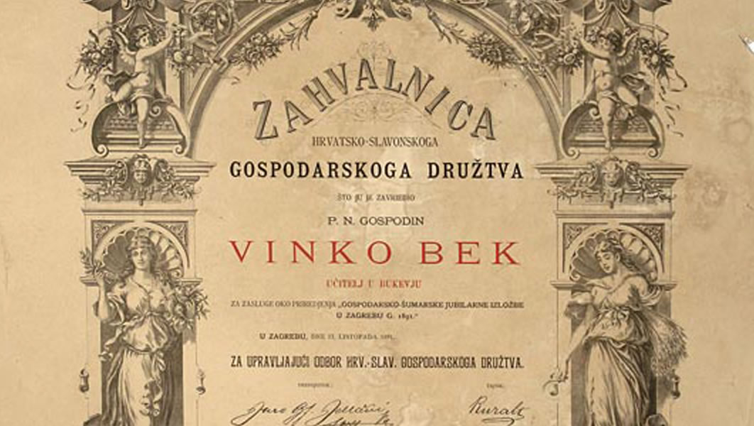 Thank-you letter to Vinko Bek from the Croatian-Slavonian Economic Society